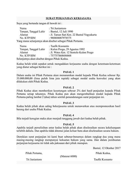 Contoh Penulisan Surat Perjanjian Kerjasama